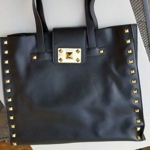 Vince Camuto black leather studded tote bag